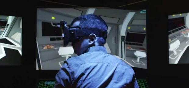 Technician training with VR headset