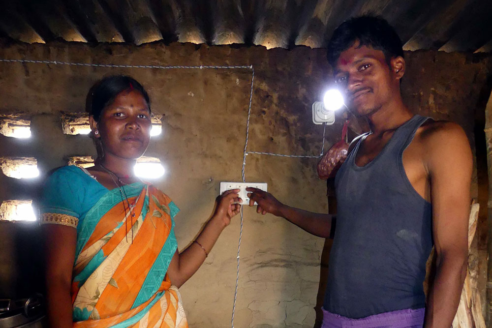 Brick Kiln customers enjoying electricity from a portable battery kit