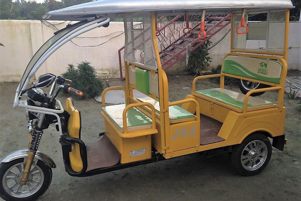 e-Rickshaw- powered by solar and used as a means of transportation